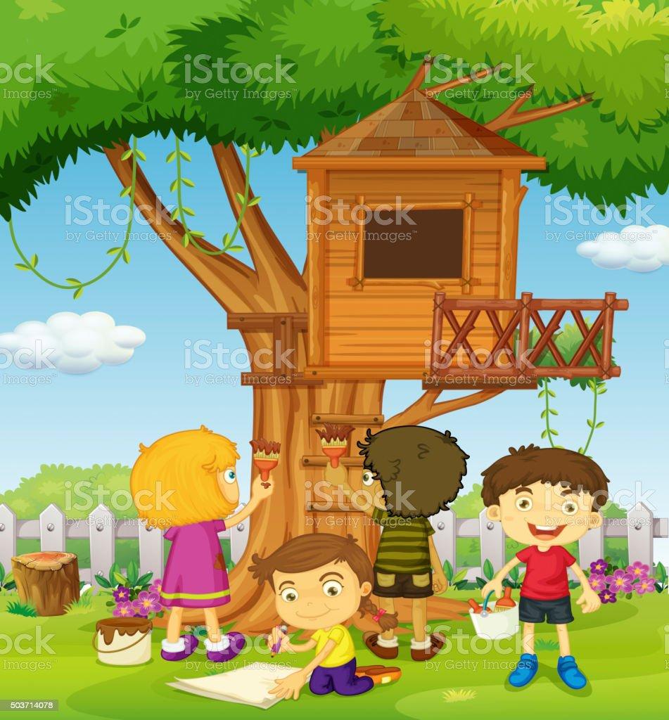 Kinder Malen Baumhaus Im Park Stock Vektor Art Und Mehr Bilder Von