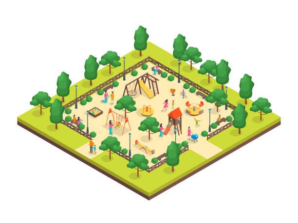 illustrations, cliparts, dessins animés et icônes de concept de parc pour les enfants vue 3d isométrique. vector - gare