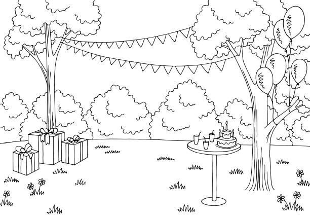 Children party graphic black white landscape sketch illustration vector Children party graphic black white landscape sketch illustration vector cartoon of birthday cake outline stock illustrations