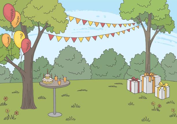 Children party graphic color landscape sketch illustration vector Children party graphic color landscape sketch illustration vector cartoon of birthday cake outline stock illustrations