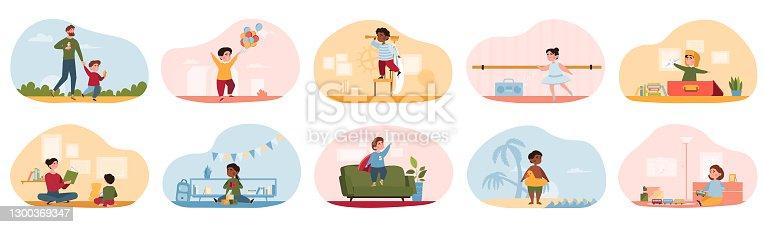 Children performing activities
