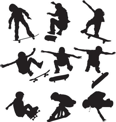Children performing stunts on skateboards