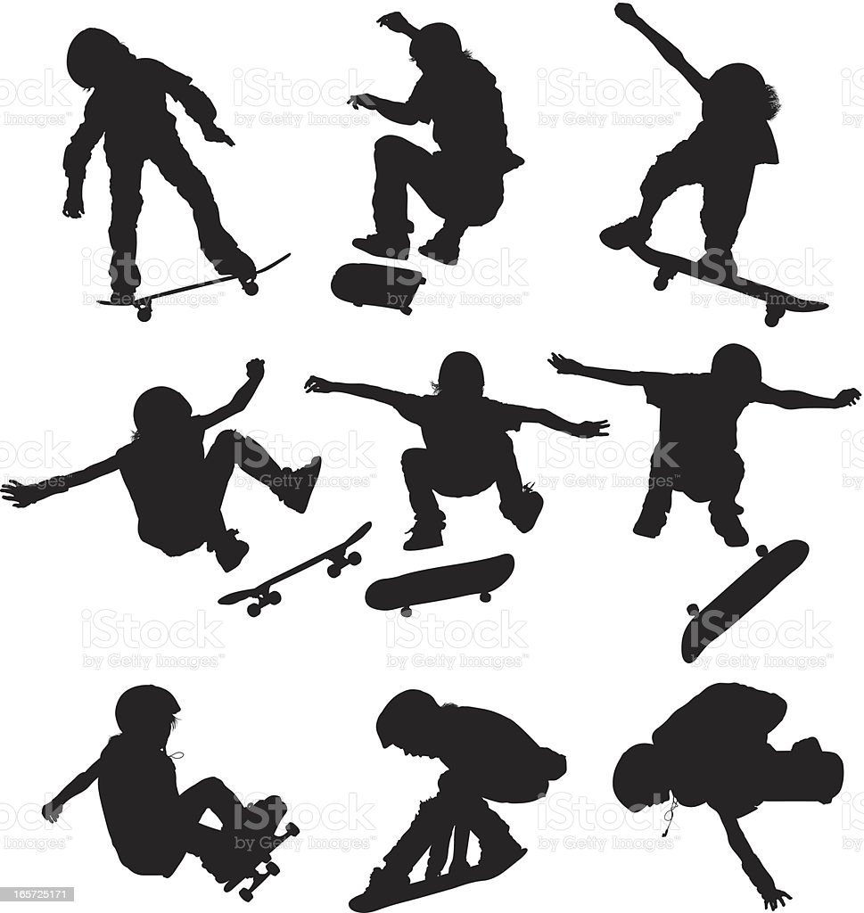 Children performing stunts on skateboards vector art illustration