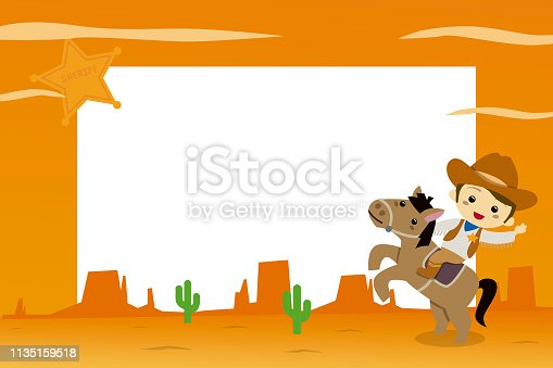 istock Children photo frames with cowboy in the far west 1135159518