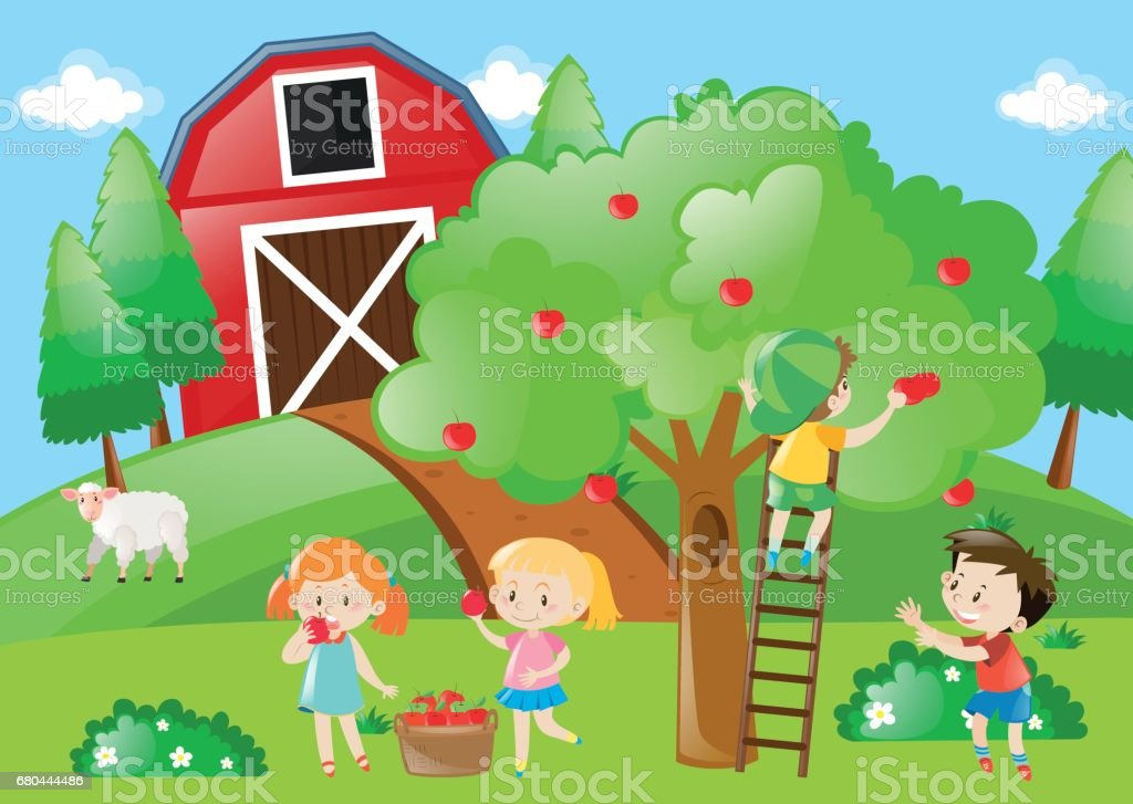 Children picking the apples from the tree vector art illustration
