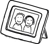 boy and girl picture in wooden frame / cartoon vector and illustration, isolated on white background.