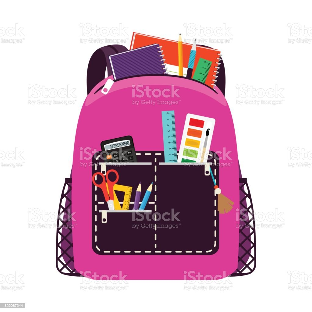 Children pink school bag pack vector art illustration