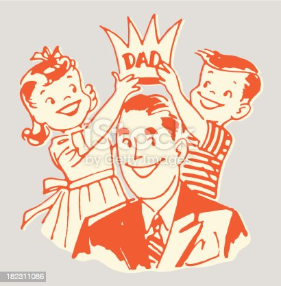 Children Placing Crown on Dad