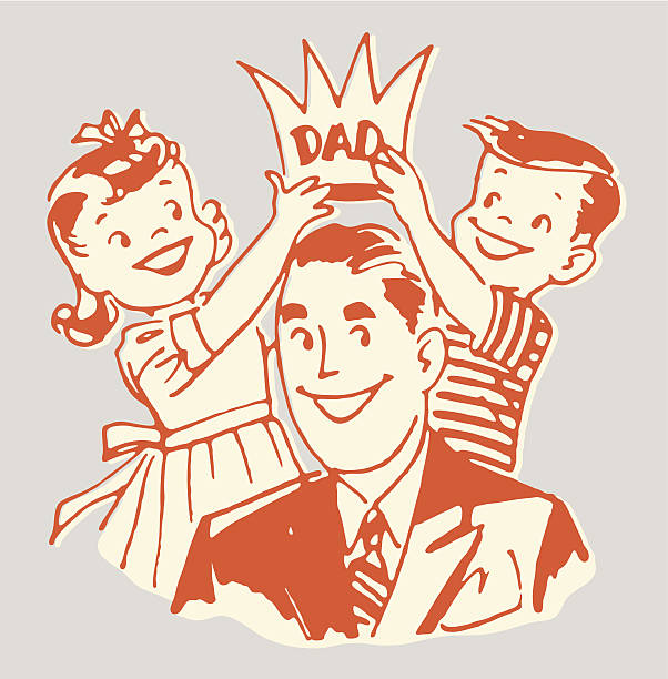 children placing crown on dad - fathers day stock illustrations, clip art, cartoons, & icons