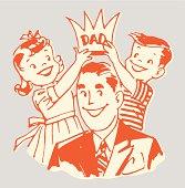 Children Placing Crown on Dad