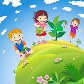 Kids planting green planet concept.