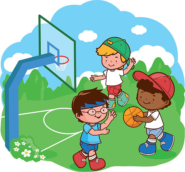 Best Friends Playing Basketball Illustrations, Royalty ...