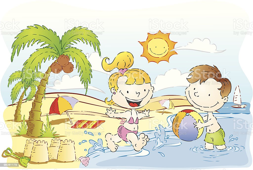 Children play by the beach on sunny day royalty-free children play by the beach on sunny day stock vector art & more images of baby