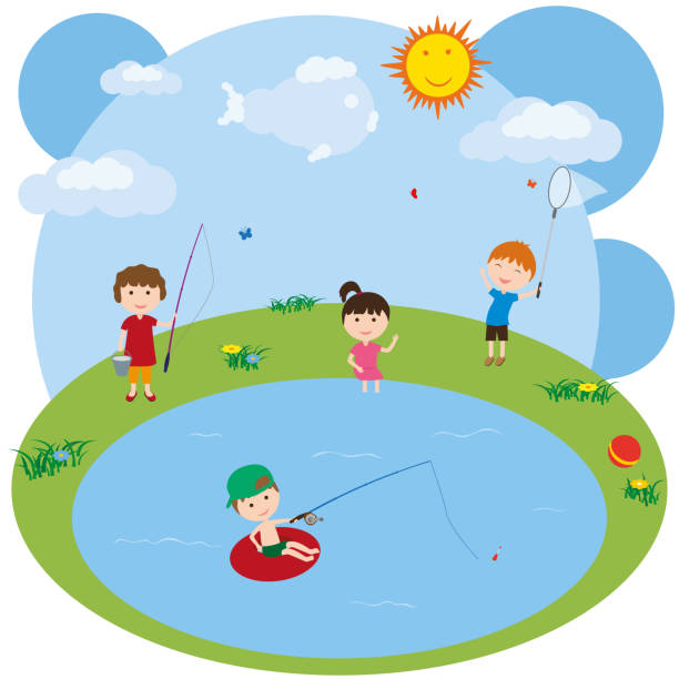 Children play by the lake. Little girl and little boy catch fish. Boy catches butterflies. vector art illustration