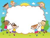 children play clouds design over sky background vector illustration cartoon