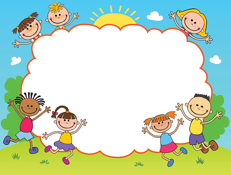 Children Play Clouds Design Over Sky Background Vector ...