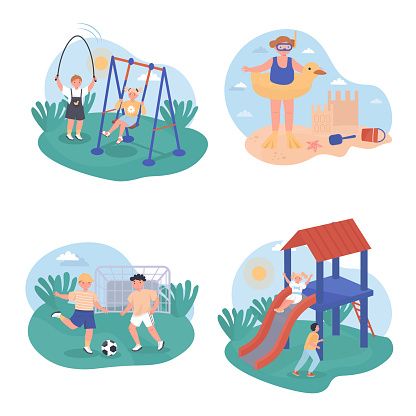 Children play concept scenes set. Boys and girls ride swing or slide, jump rope, play football, resting at sea beach. Collection of people activities. Vector illustration of characters in flat design