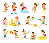 Children play in sand and have fun on beach set. Kids build castle, eat watermelon, fly kite, throw ball, run with water pistols vector illustrations.