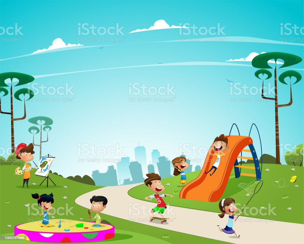 Children play in the playground vector art illustration