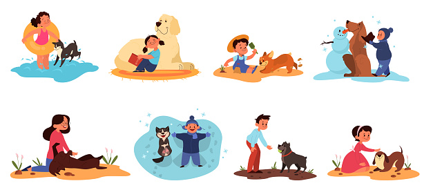 Children play with their dogs set. Collection of happy kid and pet spend time together.