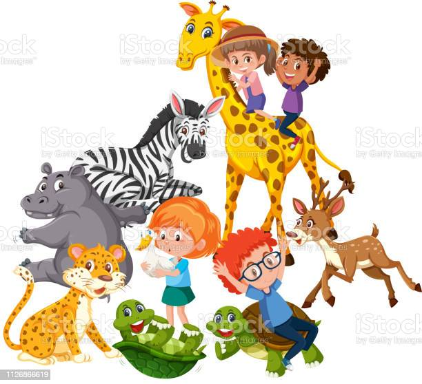 Children play with wild animals vector id1126866619?b=1&k=6&m=1126866619&s=612x612&h=zpbk5wystwkdz6dle1twpmjvql2bmyufboqaa0ukwj0=