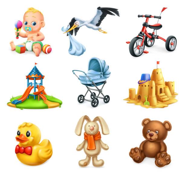 stockillustraties, clipart, cartoons en iconen met speeltuin. kinderen en speelgoed. 3d-vector icons set - alleen één jongensbaby