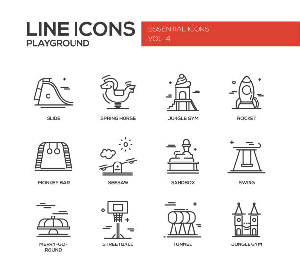 children playground line design icons set - monkey bars stock illustrations, clip art, cartoons, & icons