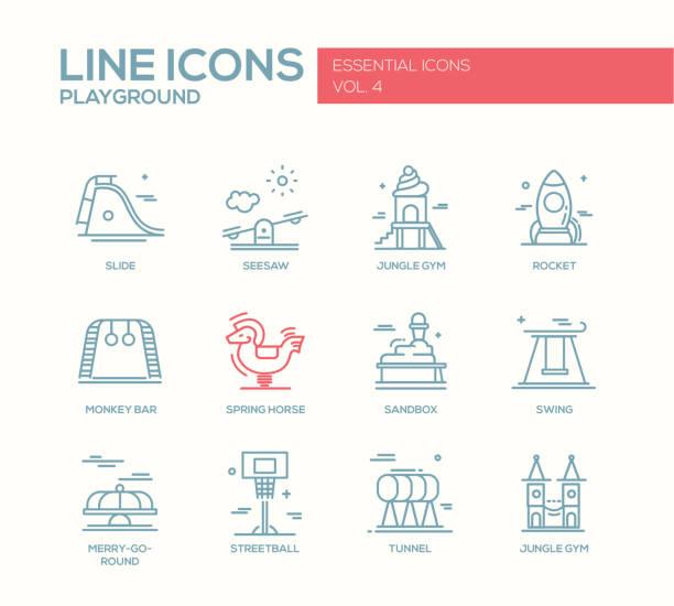 ilustrações de stock, clip art, desenhos animados e ícones de crianças, conjunto de ícones de projeto linha do parque infantil - balouço
