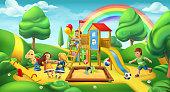 Children playground. Nature landscape. Park 3d vector panorama