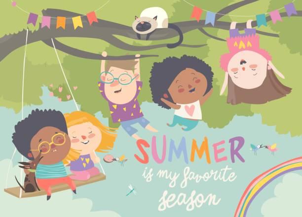 bildbanksillustrationer, clip art samt tecknat material och ikoner med barn leker och har roligt i trädet - hund skog