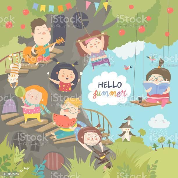 Children playing and having fun in the treehouse vector id961887926?b=1&k=6&m=961887926&s=612x612&h=ydh5kkjmowfugbonej1vi2nz3fxwakuxcptk7de3qaa=