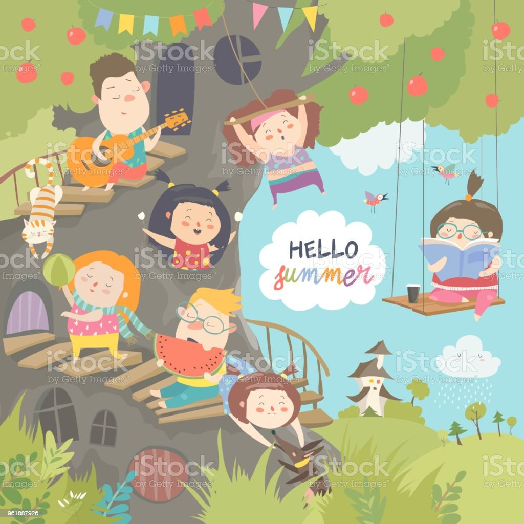 Children playing and having fun in the treehouse vector art illustration