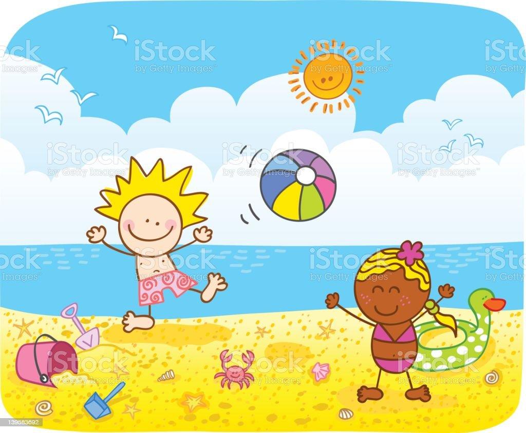 Ilustración De Niños Jugando En La Playa Ilustración
