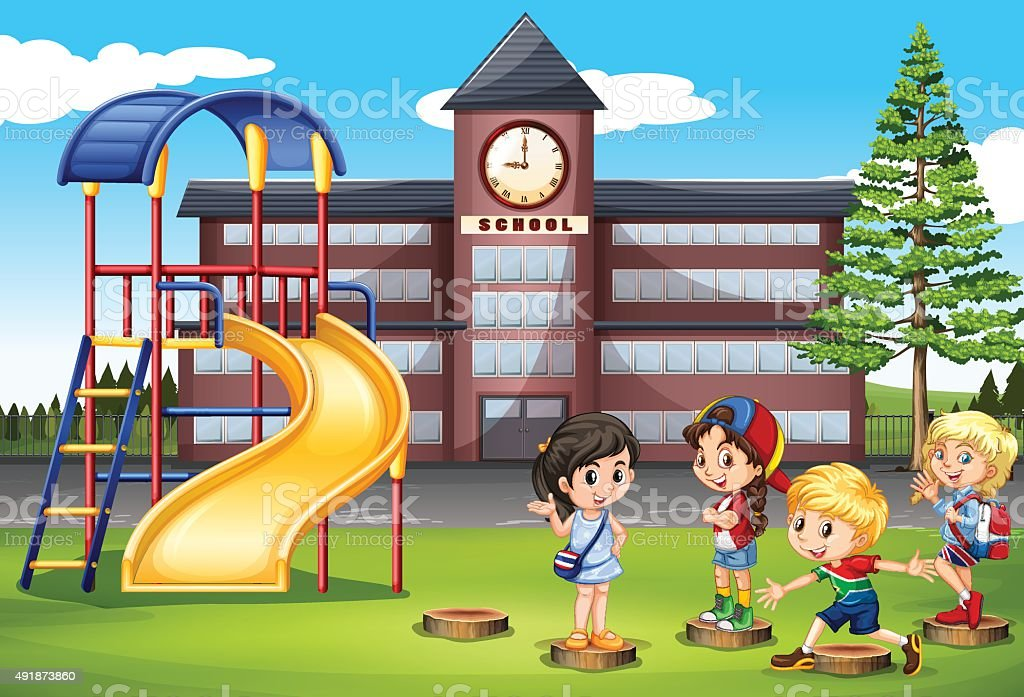 children playing at school playground royalty free stock vector art - Images Of Children Playing At School