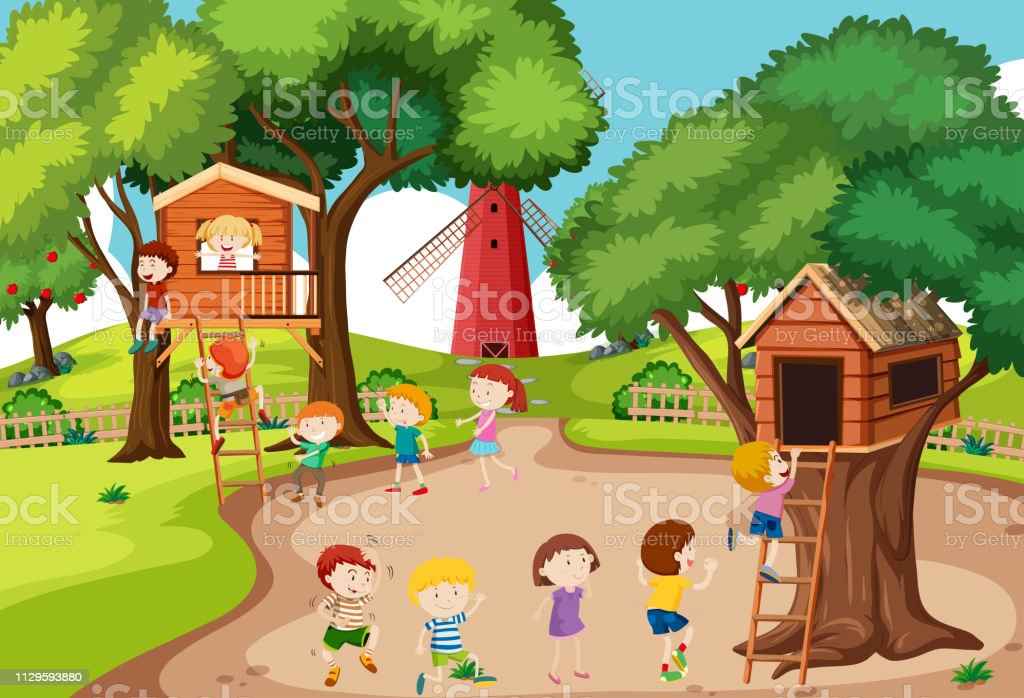 Children playing at tree house vector art illustration