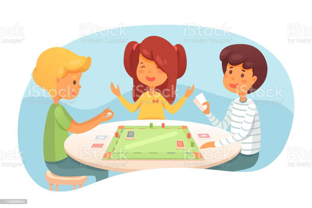 Children Playing Board Game Vector Illustration Stock Illustration -  Download Image Now