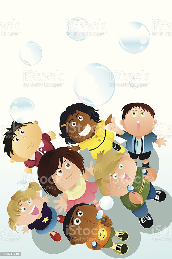 Children playing bubbles royalty-free stock vector art