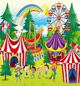 Children playing  circus