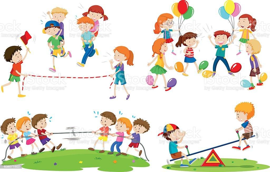 Diversi Bambini Che Giocano Giochi Immagini Vettoriali Stock E