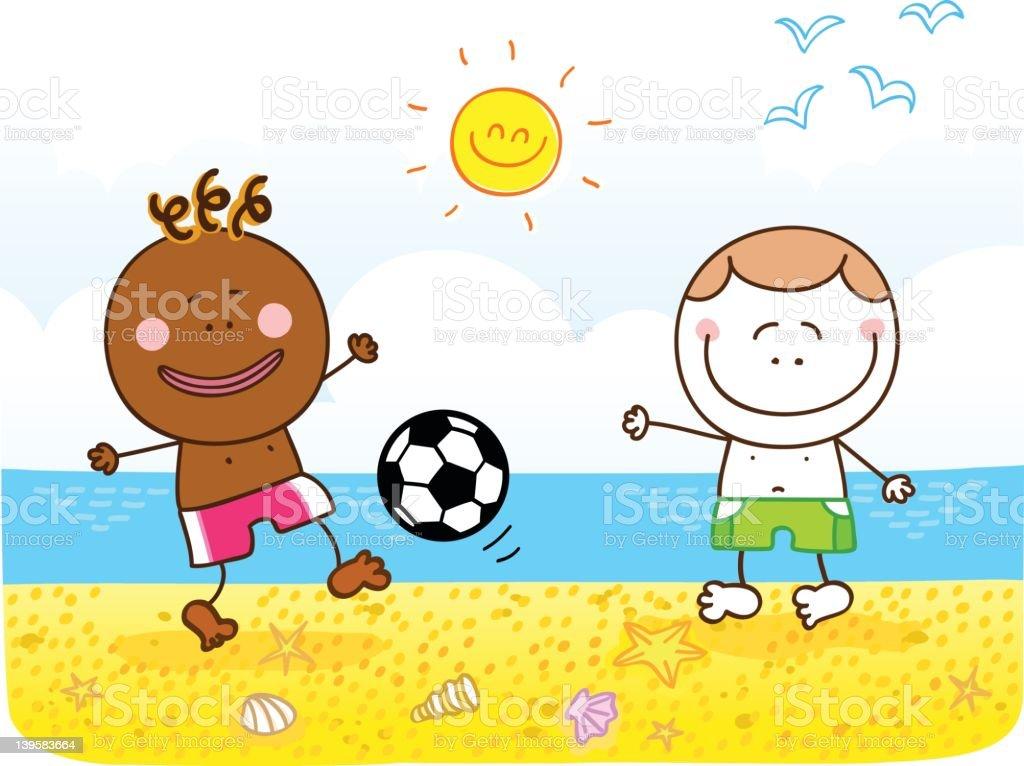 Kinder Spielen Fussball Am Strand Cartoon Illustration Stock