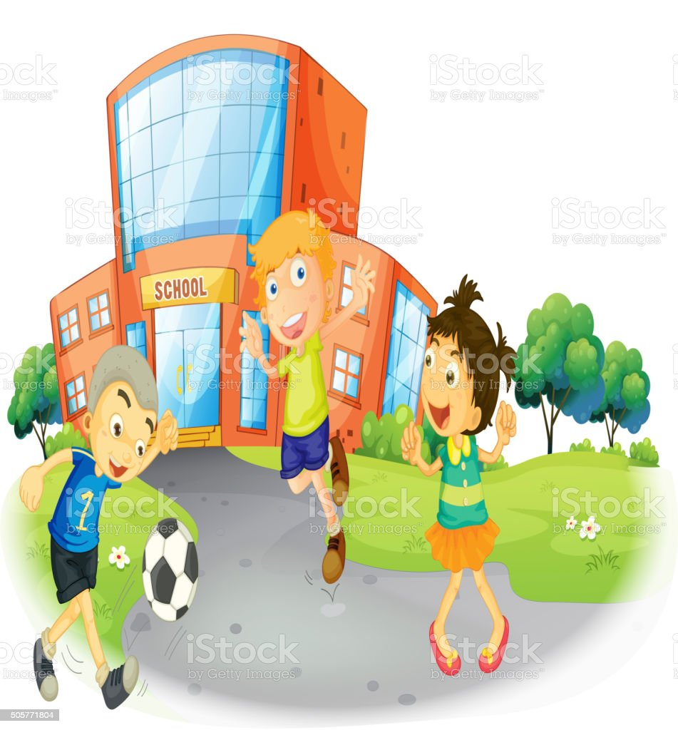 children playing football at the school royalty free children playing football at the school stock - Images Of Children Playing At School