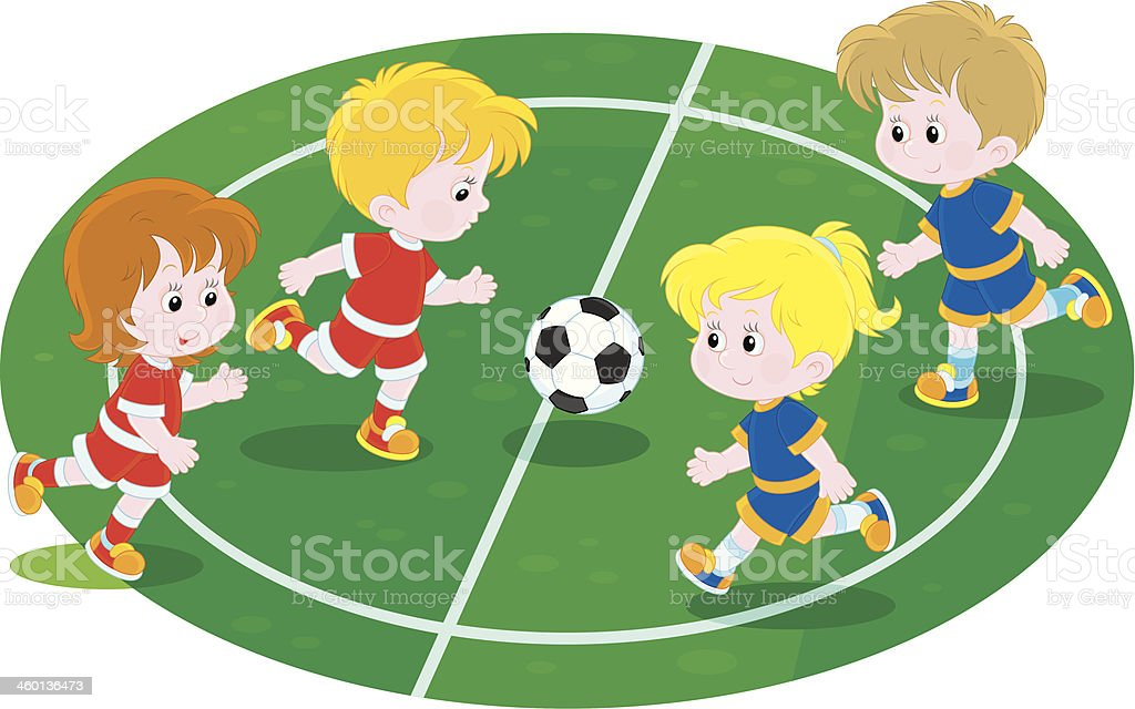 Kids playing flag football clipart