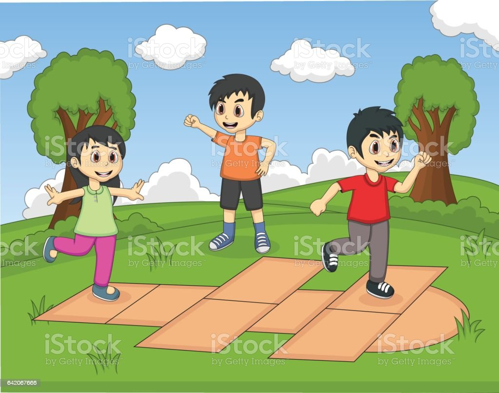 Ilustración De Niños Jugando Rayuela En La Historieta Del Parque Y