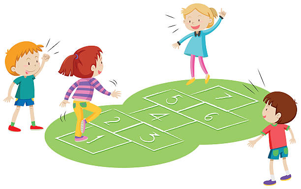 kinder spielen gemeinsam hopscoth - himmel und hölle spiel stock-grafiken, -clipart, -cartoons und -symbole