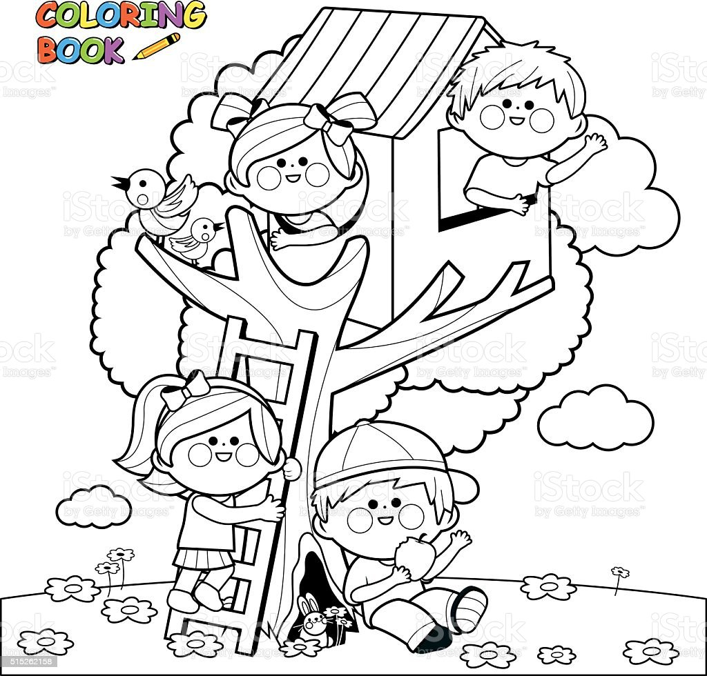 Children playing in a tree house coloring book page vector art illustration