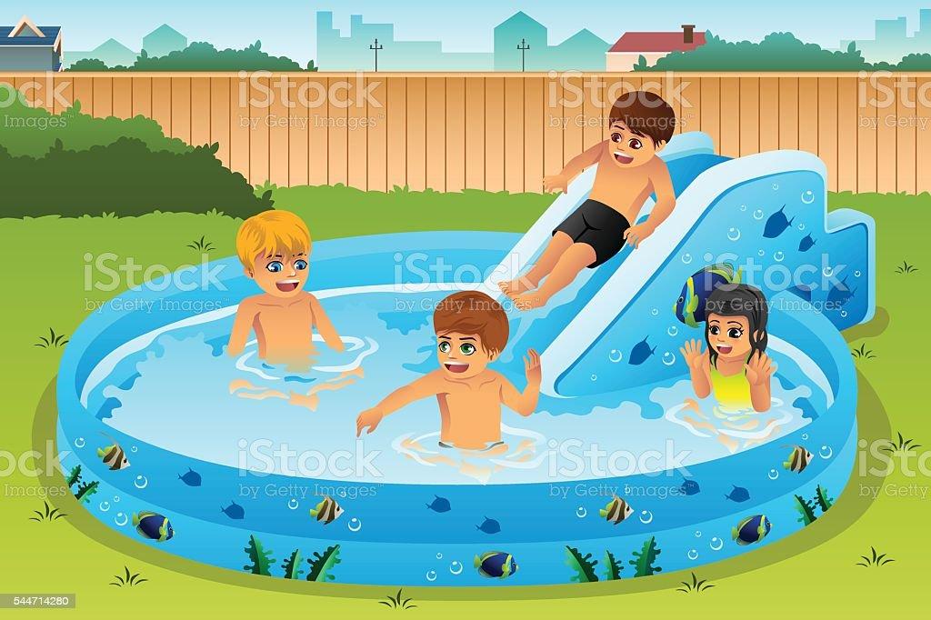 kinder im aufblasbaren schwimmbad stock vektor art und mehr bilder von aufblasbares. Black Bedroom Furniture Sets. Home Design Ideas
