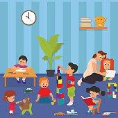 Kindergarten. Children playing in kinder garden. young teacher teaches children in kindergarten. Vector illustration