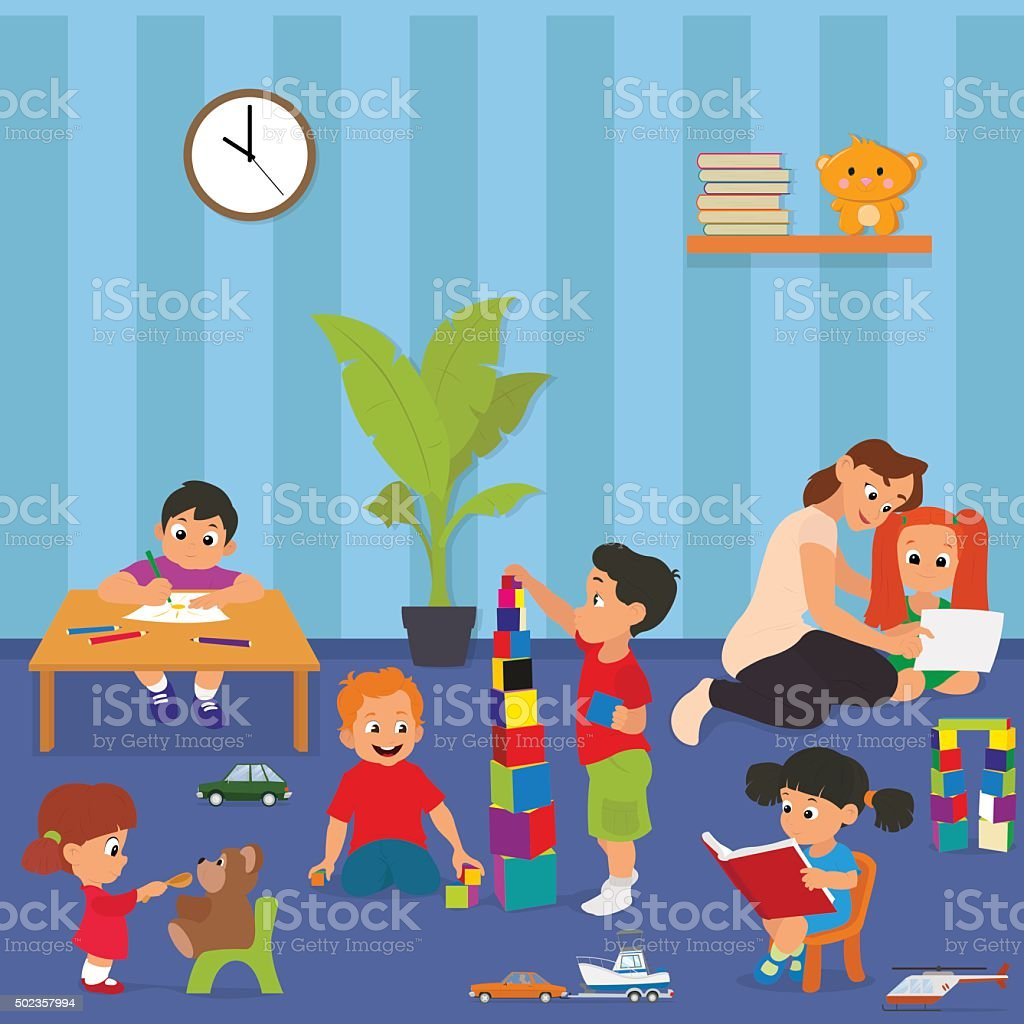 Children playing in kinder garden vector art illustration
