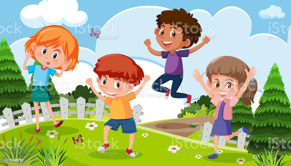 352fed980fd787 Kinder spielen in der Natur Lizenzfreies kinder spielen in der natur stock  vektor art und mehr