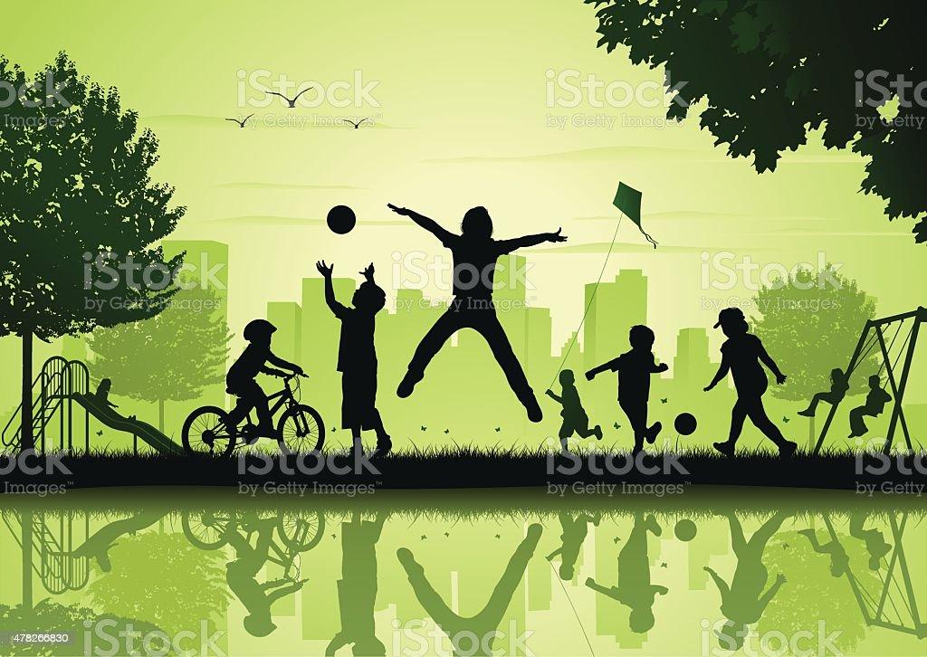 어린이 게임하기 의 시티 파크 (city park - 로열티 프리 2015년 벡터 아트